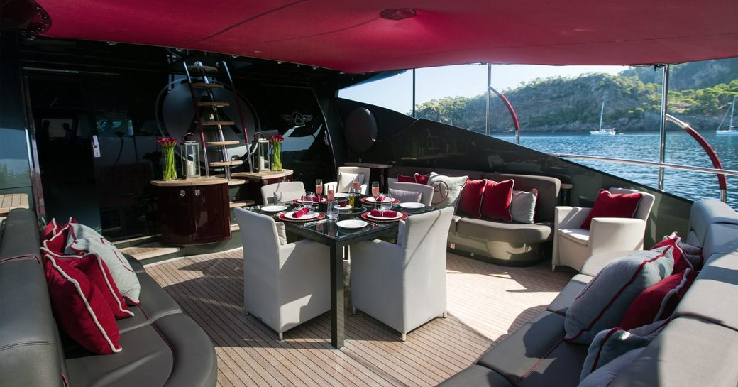 main deck aft with alfresco dining option on board superyacht ASCARI