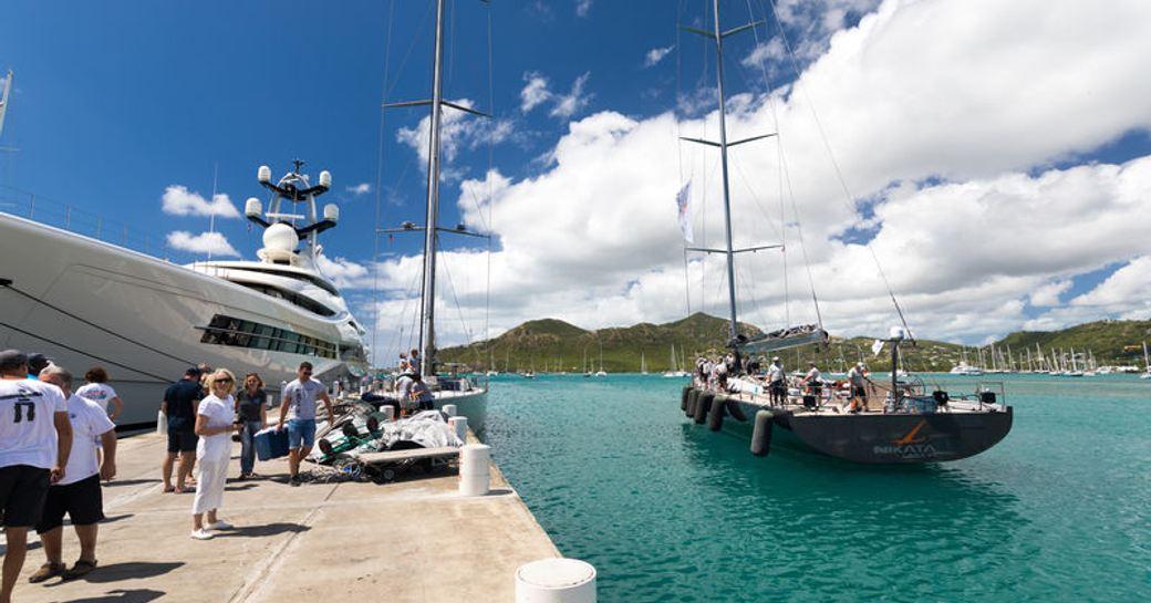 superyacht NIKATA after finishing the RORC Caribbean 600 2019