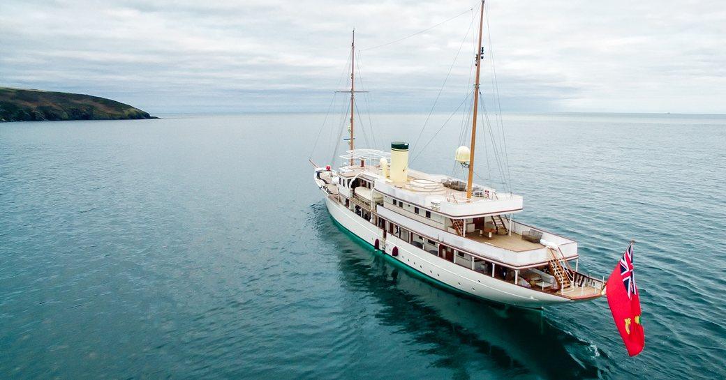 Classic yacht Haida 1929 at anchor in open sea
