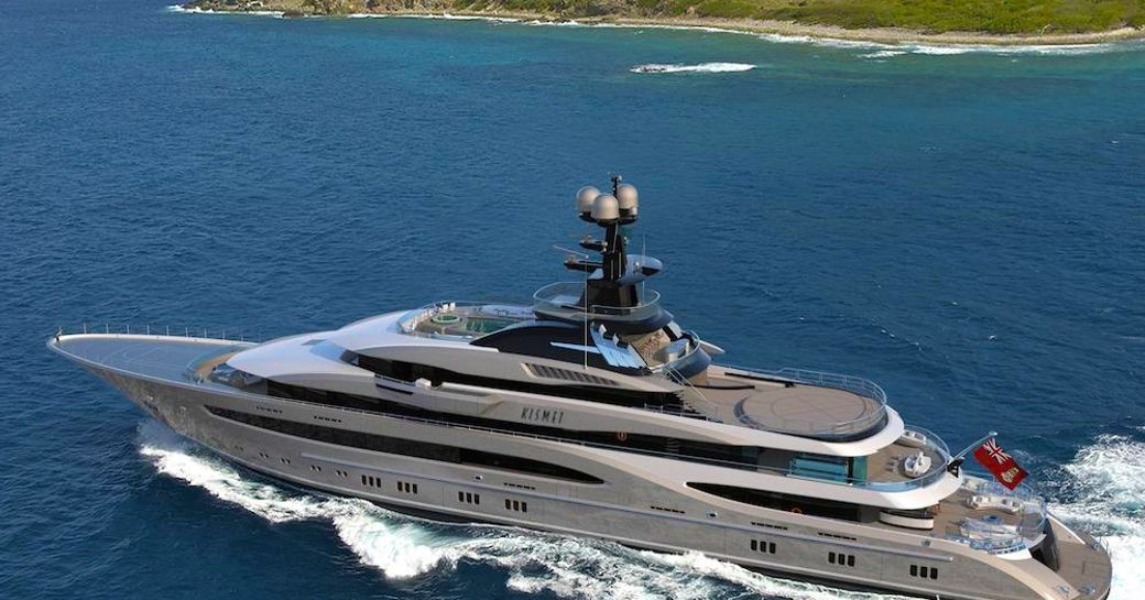 lurssen's superyacht kismet underway in the Bahamas where the covid-19 outbreak isn't as sevre as the rest of the world
