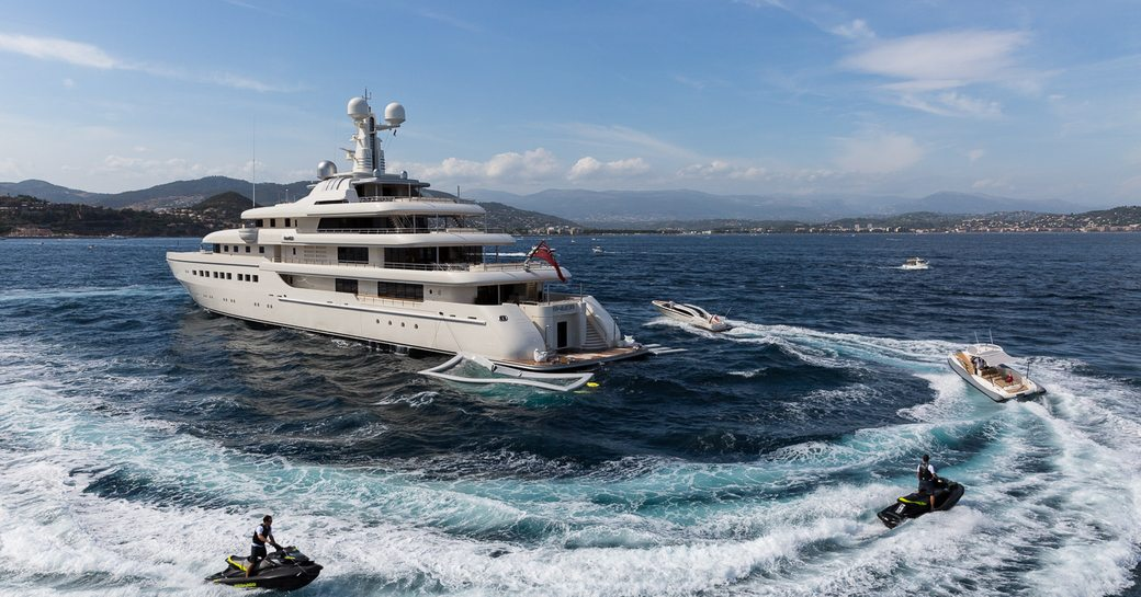 Superyacht Romea with her tenders and toys