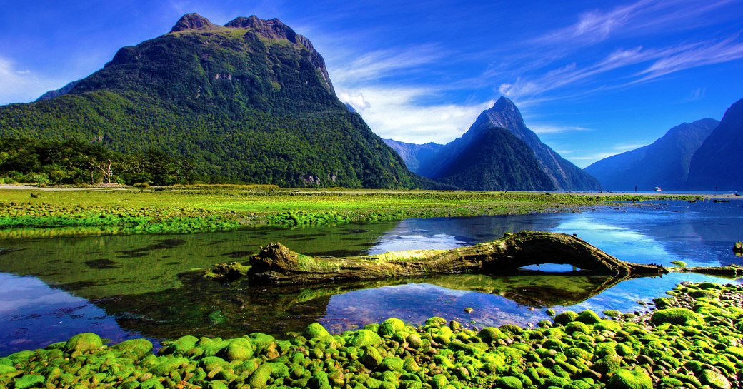 Mountains and water of Milford Sound in New Zealand