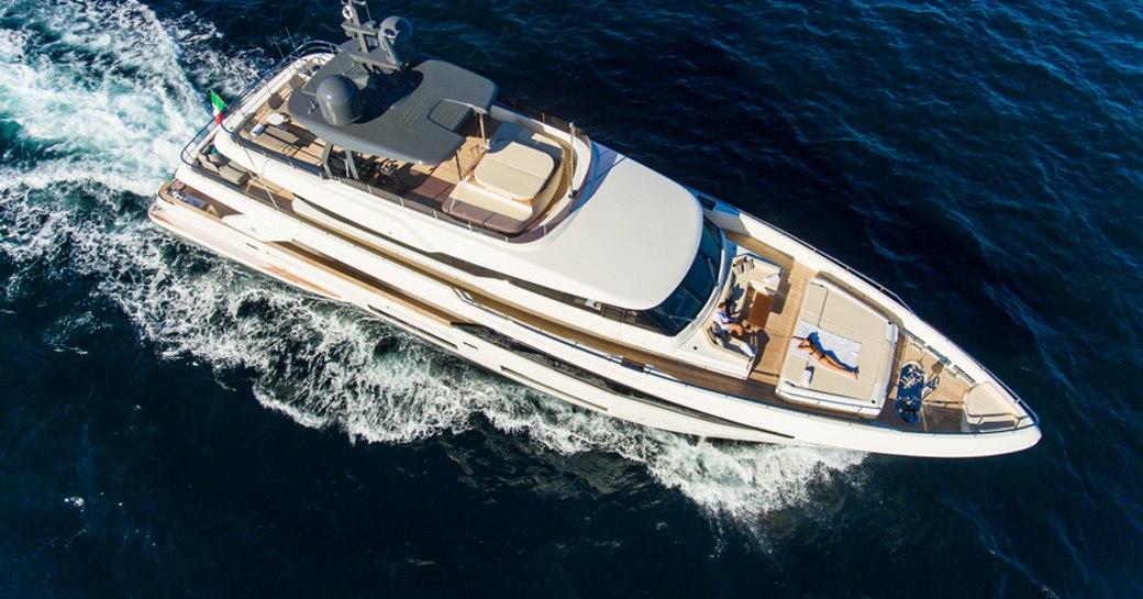 aerial shot of custom line charter yacht penelope