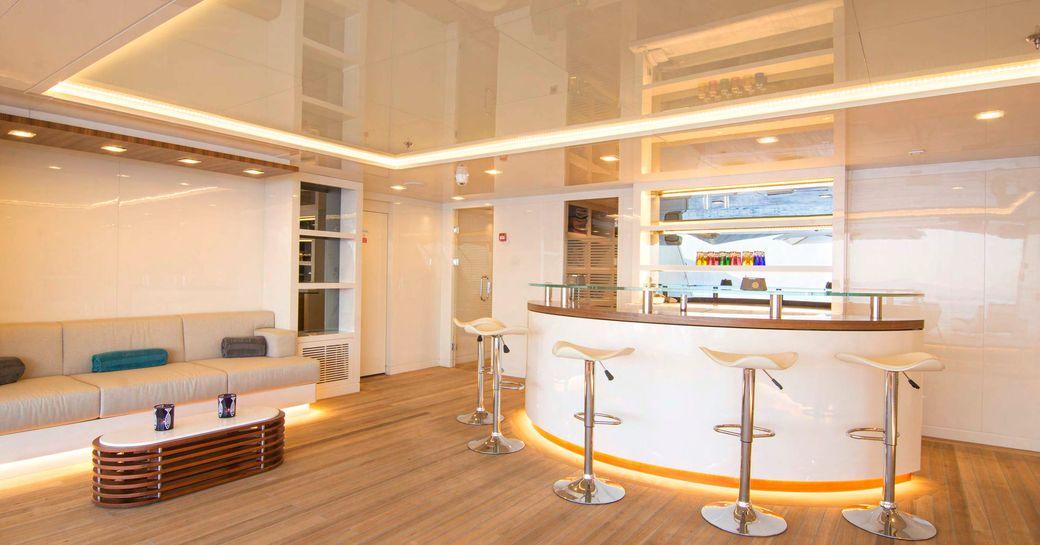 The beach club area on board superyacht O'PTASIA