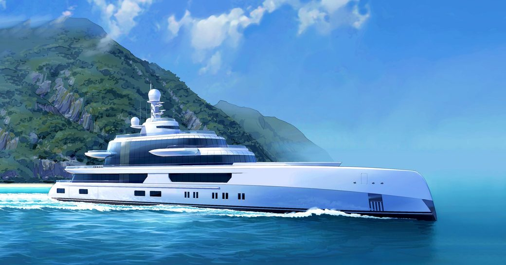 Superyacht EXCELLENCE while underway rendering
