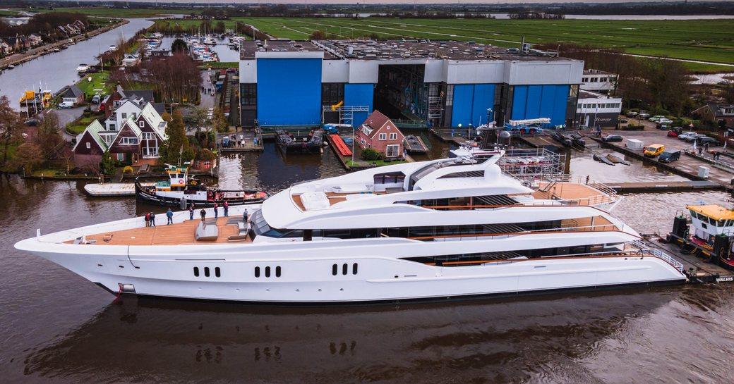 luxury yacht galina during launch