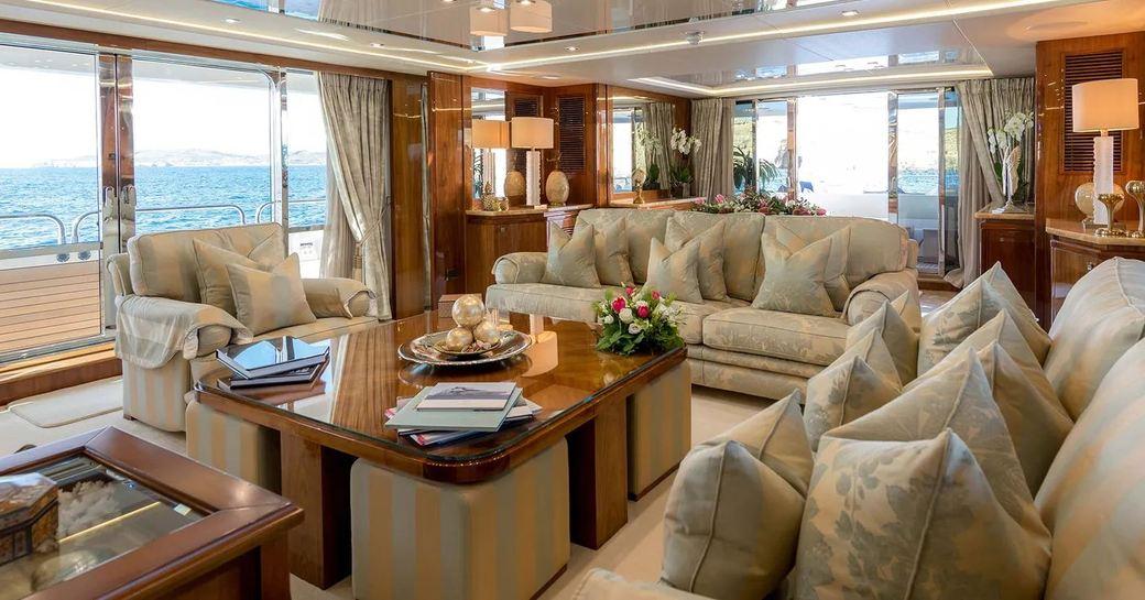 Main salon on board superyacht ANYA