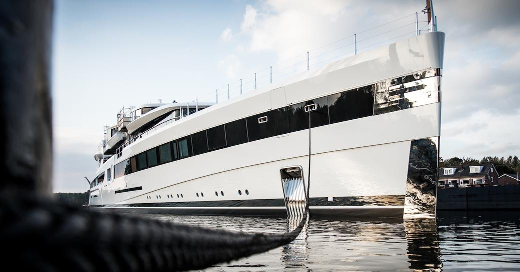 Superyacht Lady S profile shot on the water
