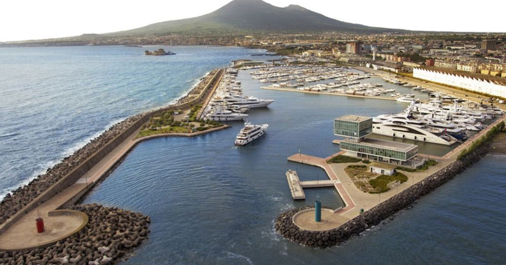 Yachts entering the Marina di Stabia port