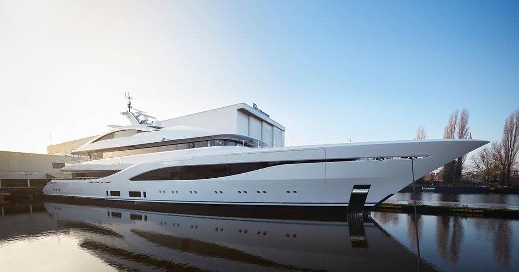 superyacht arrow by feadship berthed in the mediterranean
