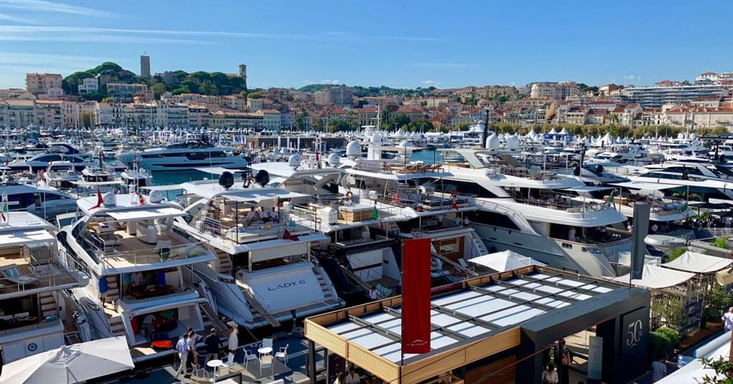 Marina of Cannes during Yachting Festival 2019, aerial view of yachts in harbour