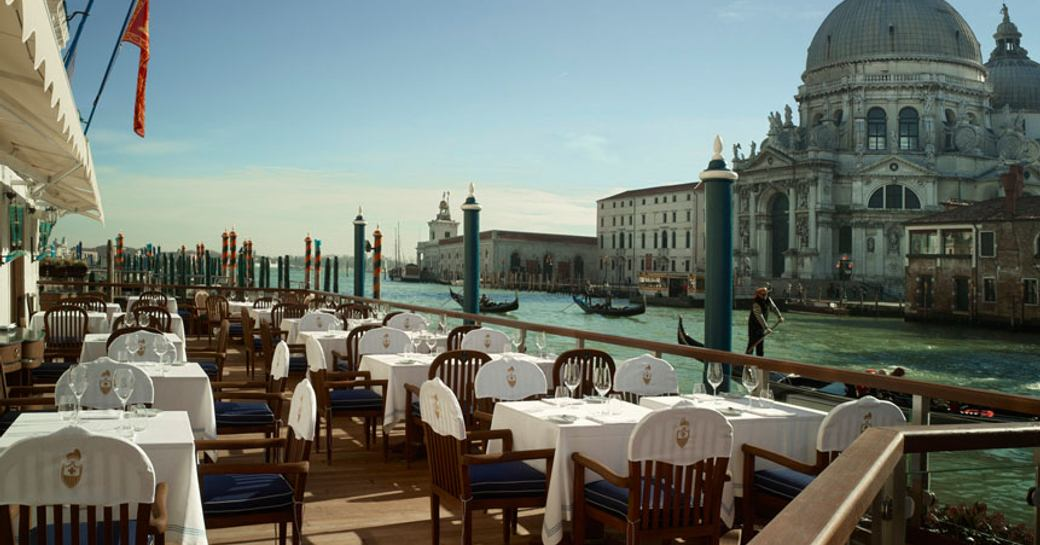 dine at Club del Doge Restaurant, Gritti Palace on a venice film festival yacht charter