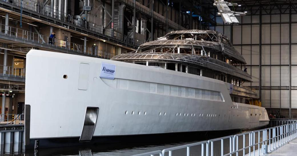 Feadship Project 816  in fitting shed in Amsterdam
