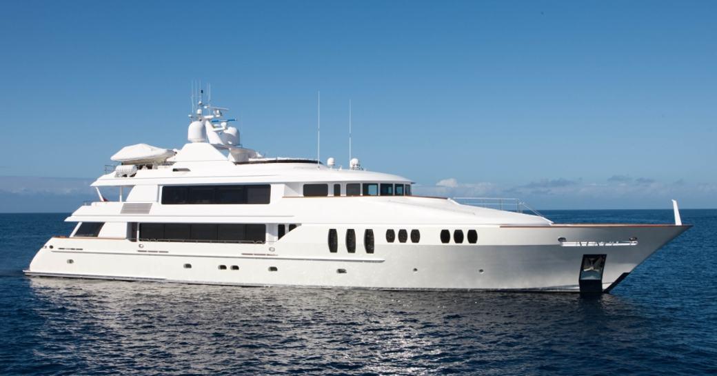 A profile shot of the superyacht 'Carpe Diem II'
