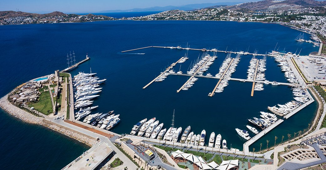 An aerial view of Palmarina in Bodrum