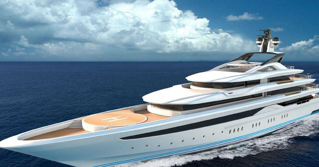 superyacht o'pari rendering underway
