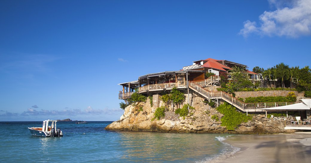 The Eden on the Rocks restaurant seen from the beach