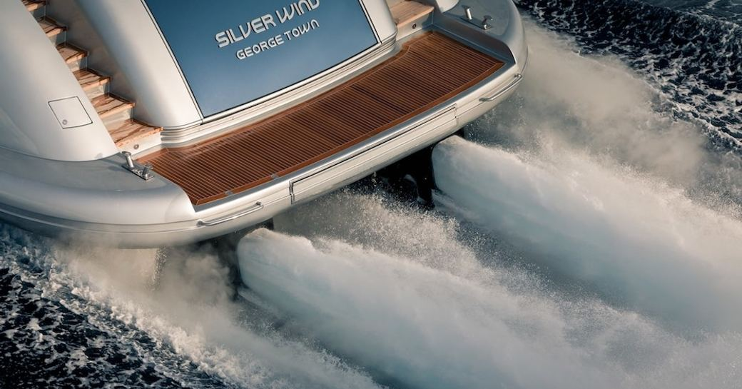 The swim platform which extends off the aft of motor yacht 'Silver Wind'