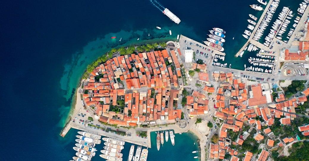 Aerial view of Korcula croatia