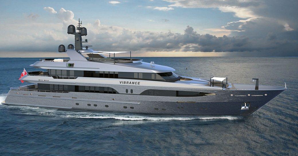 superyacht vibrance underway in the mediterranean