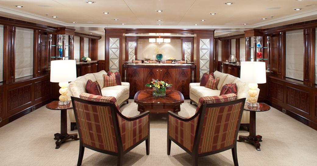 The main salon of luxury yacht KATYA