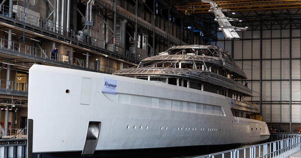 Feadship megayacht 816 seen in dock in Amsterdam