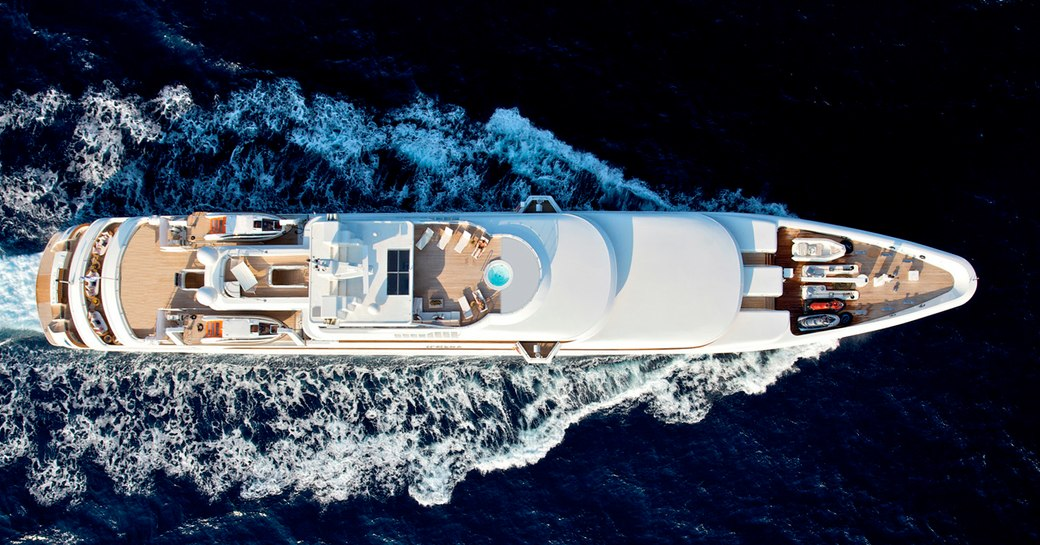 O'MEGA superyacht viewed from top