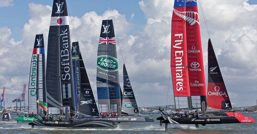 competitors line up for the America's Cup 2017