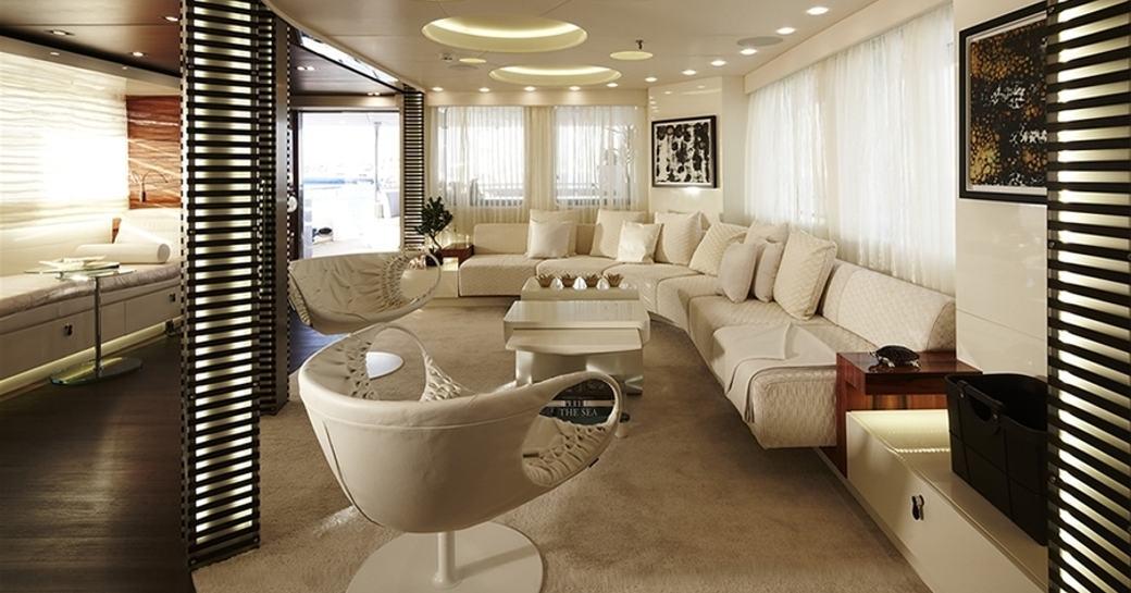 beautifully styled main salon aboard luxury yacht E&E