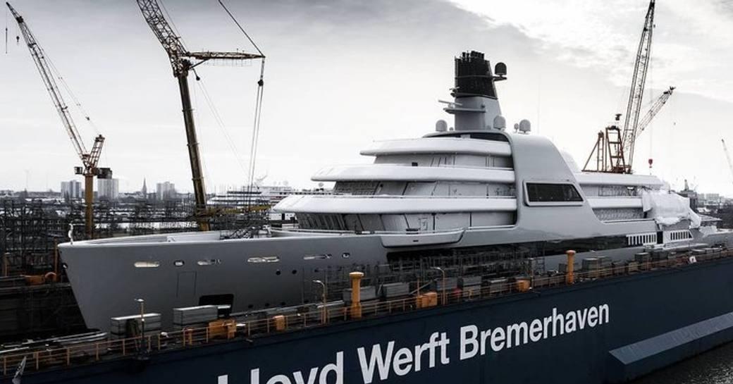 Megayacht SOLARIS stationed at Lloyd Werft shipyard