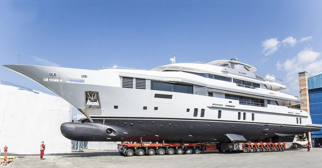 superyacht ELALDREA+ is transported to the water ahead of her launch