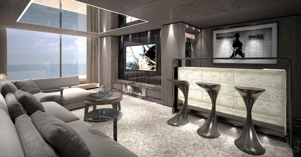 bar, sofa and TV in the beach club aboard charter yacht SOLO
