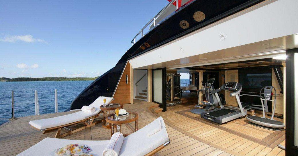 beach club and swim platform on superyacht amaryllis