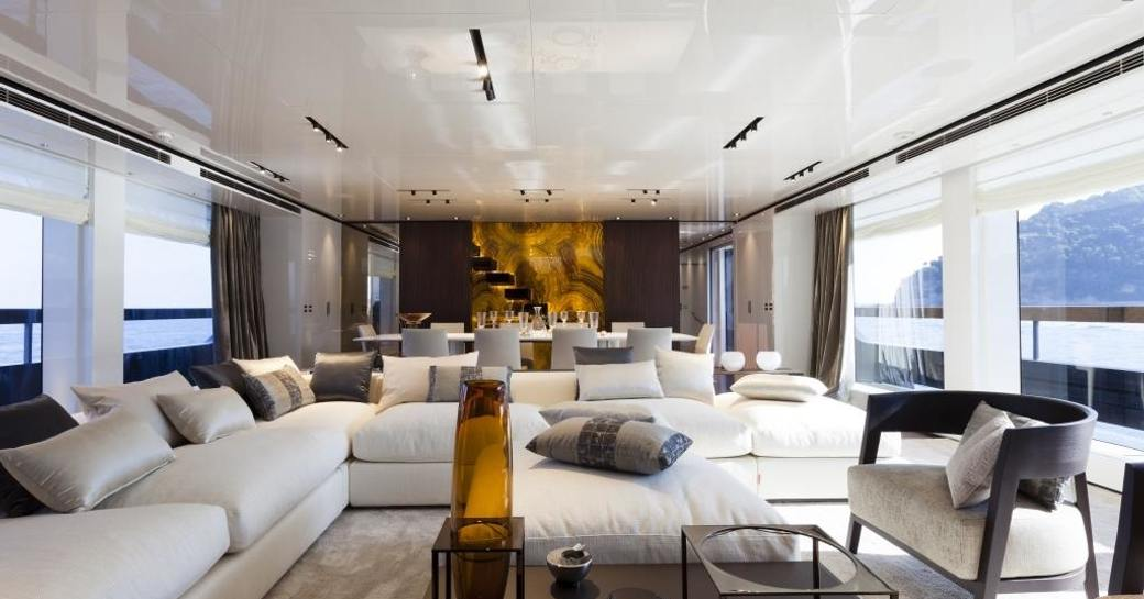 rosewood main salon on board luxury yacht 'Lucky Me'