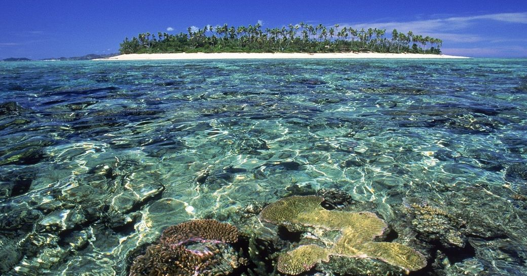 clear waters and coral of Fiji with uninhabited island in the background