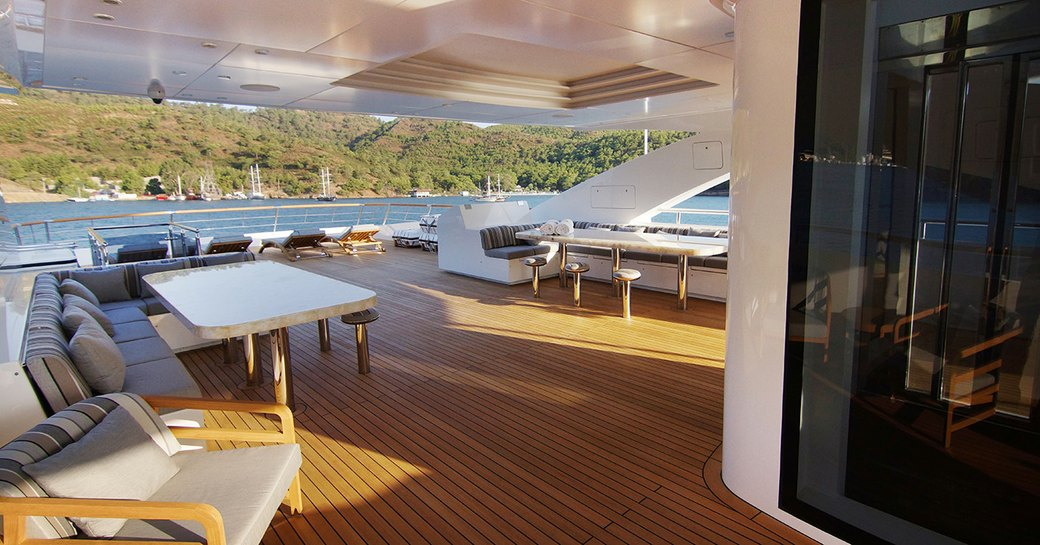 luxury yacht baba's sundeck with dining and elevator