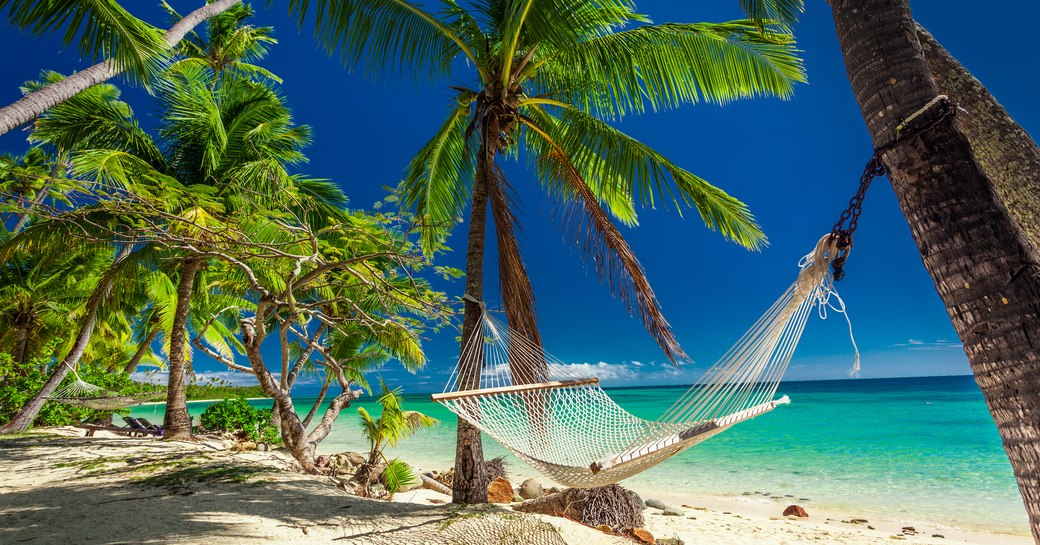 hammock tied up to two palm trees on a tropical beach in Fiji