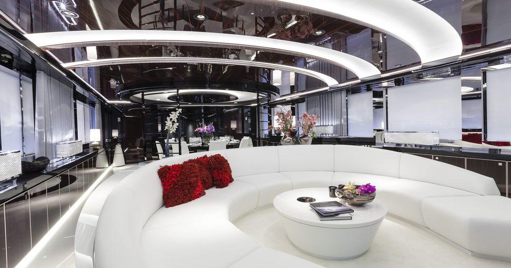 monochrome-themed main salon on board luxury yacht MYSKY