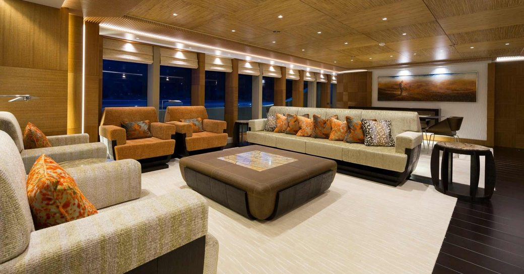Australian themed main salon on motor yacht RUYA