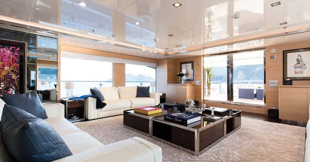 sociable lounge in the Alberto Pinto-designed charter yacht