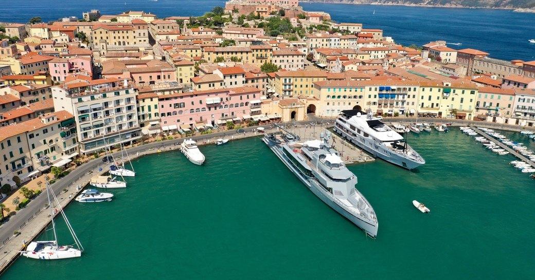 luxury yacht bold in bay in the mediterranean