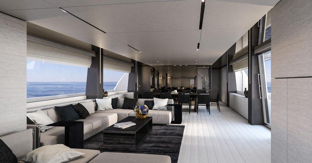 light, modern and airy main salon aboard luxury yacht December Six