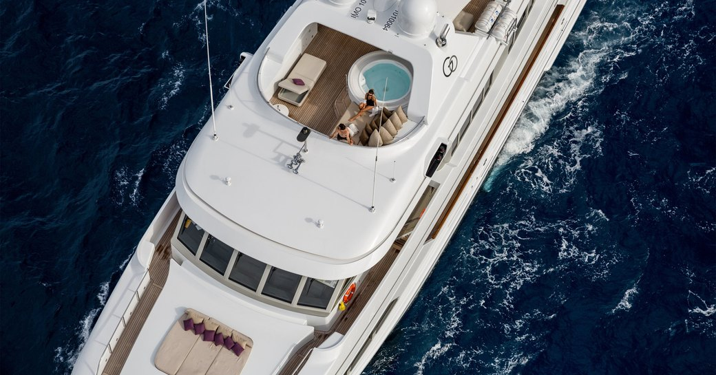 Luxury yacht GO jacuzzi and sunpads aerial view