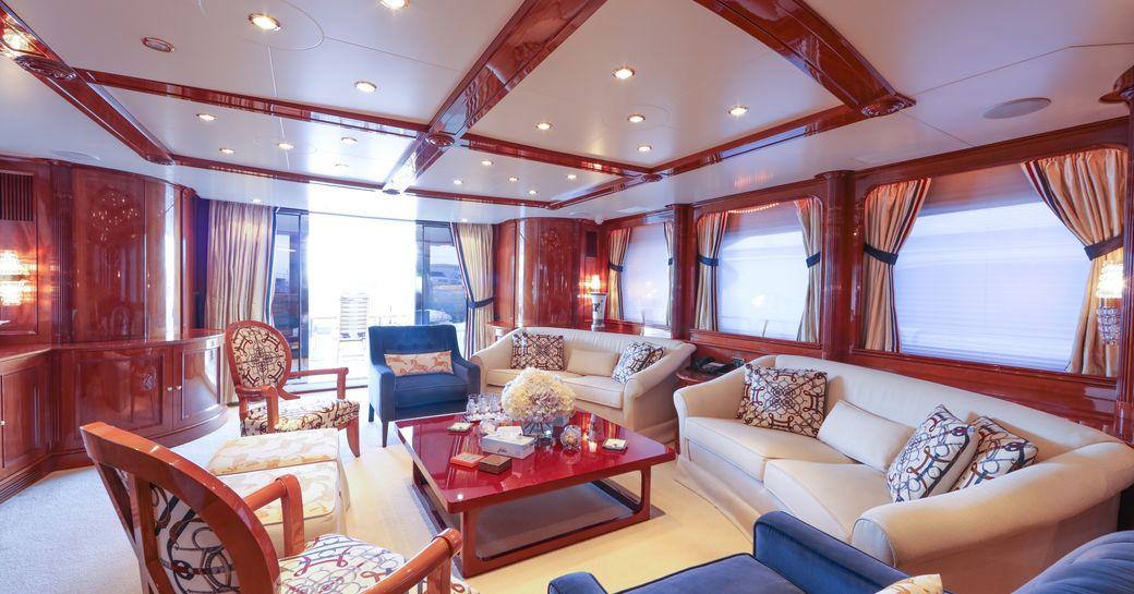 comfortable lounge in main salon of luxury yacht DXB