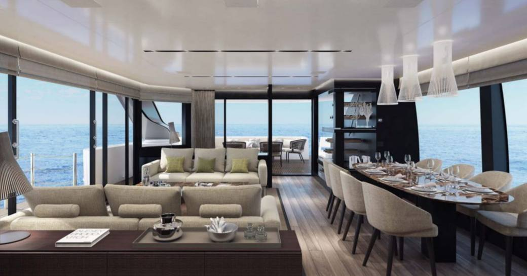 main salon of sanlorenzo charter yacht noor