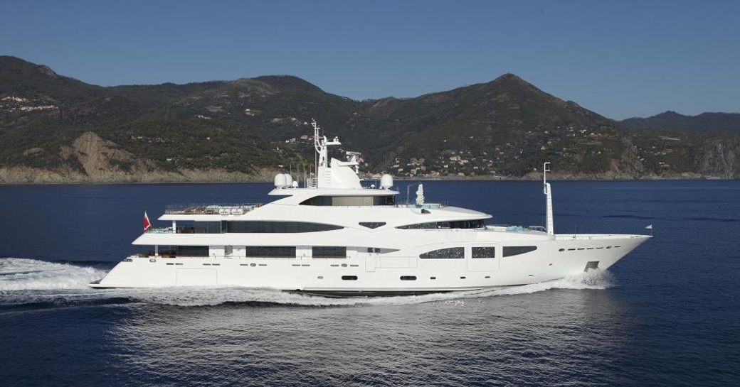 A running shot of superyacht 'Ramble On Rose'