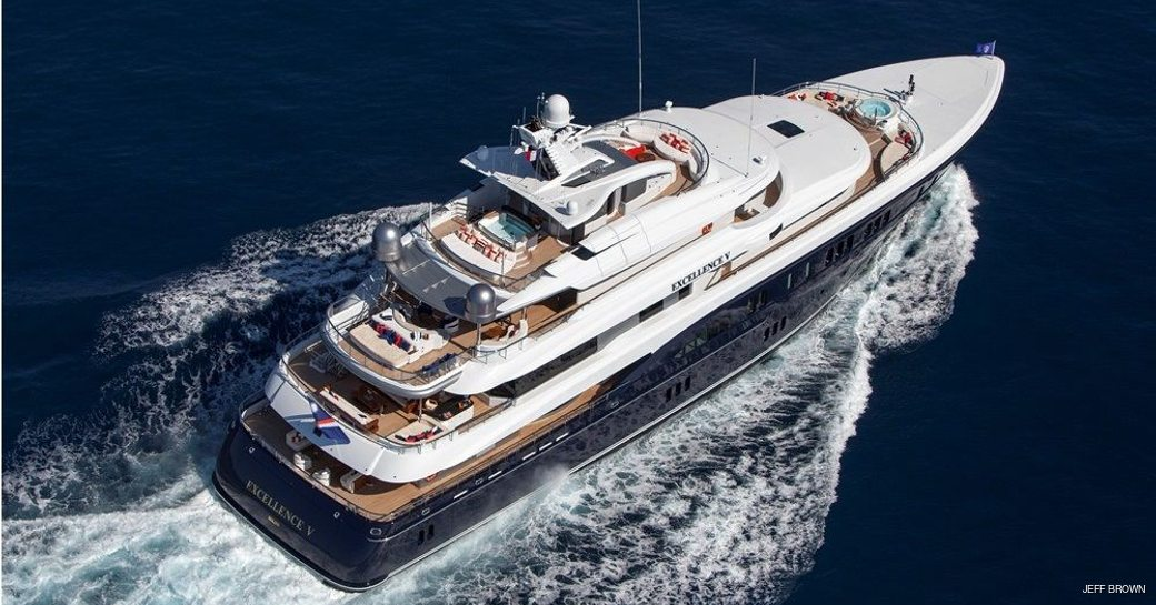 aerial view of luxury yacht excellence v