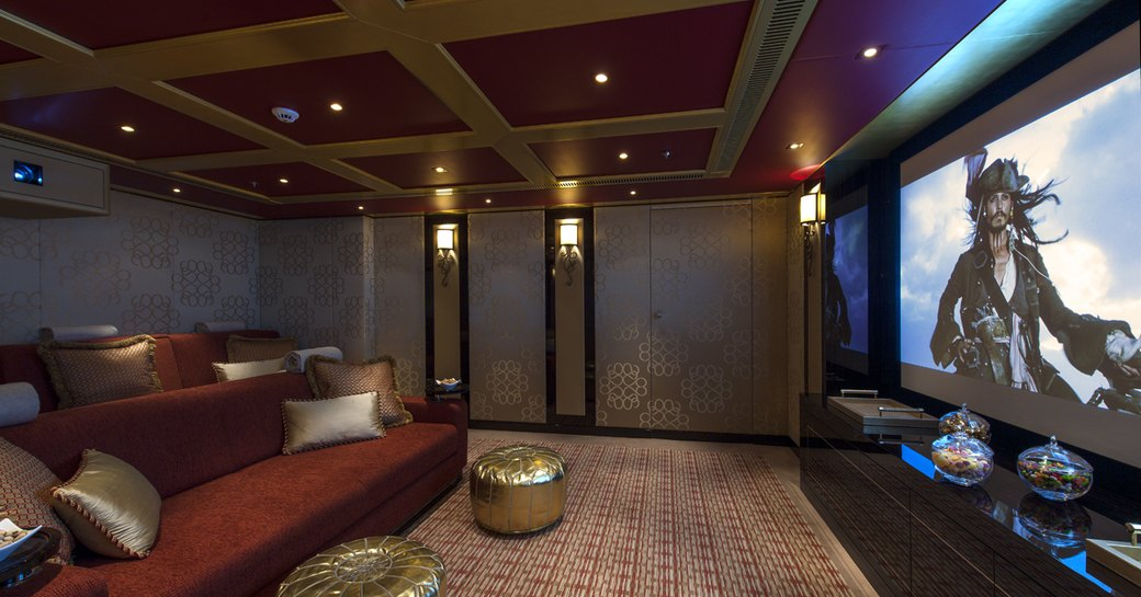 Cinema on luxury yacht SOLANDGE