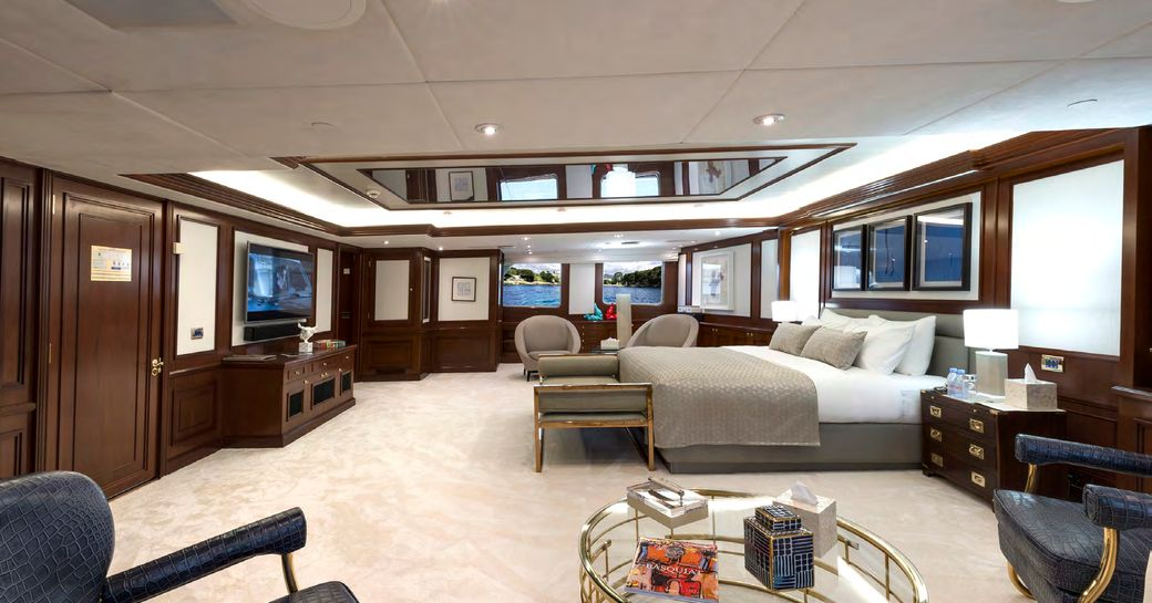 Expansive cabin on Superyacht CHAKRA with double bed