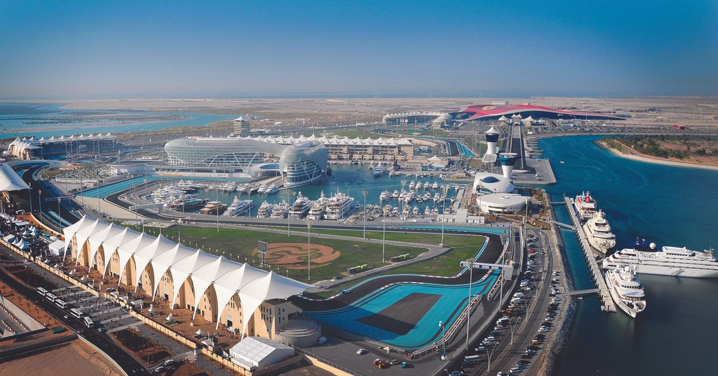 superyachts line up in Yas Marina for the Abu Dhabi Grand Prix